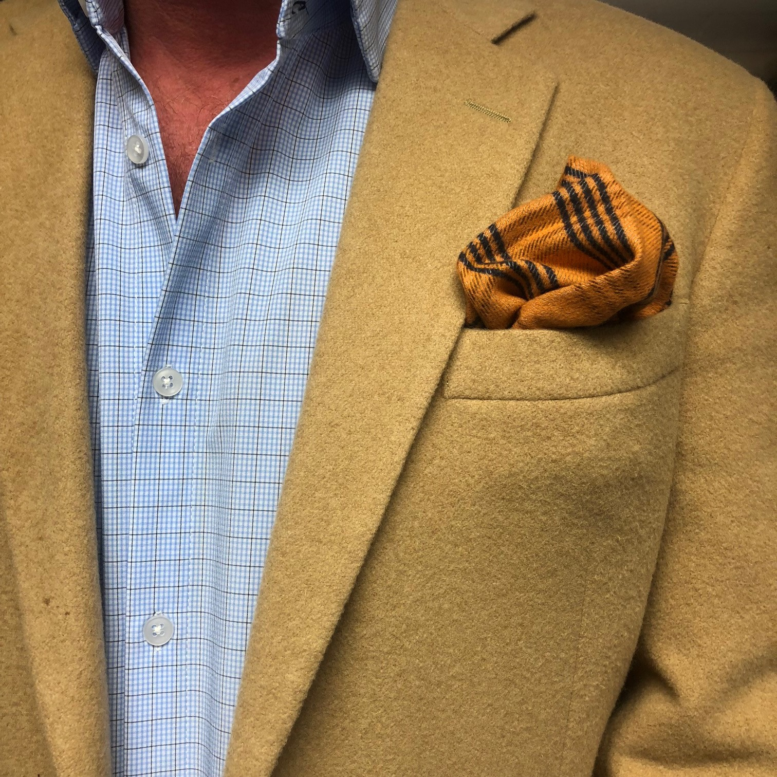 ORANGE & NAVY PLAID POCKET SQUARE