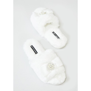 PRETTY YOU LONDON ANYA CREAM SLIPPERS