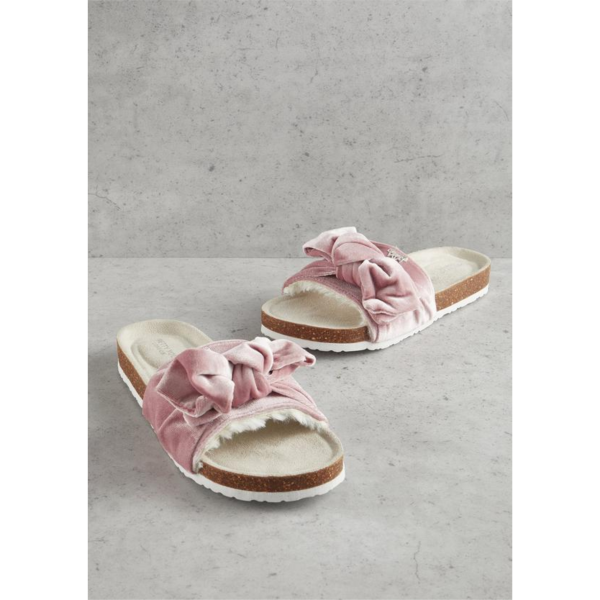 PRETTY YOU LONDON PINK VELOUR BOW SLIP ON