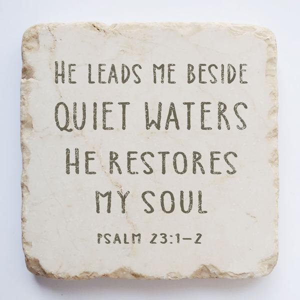 PSALM 23:1-2 LARGE AND QUARTER STONE BLOCK