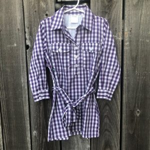 PRODOH PURPLE BELTED GINGHAM DRESS