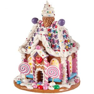PURPLE LIGHTED GINGERBREAD HOUSE