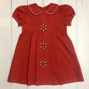 RED DRESS WITH CHRISTMAS WREATH