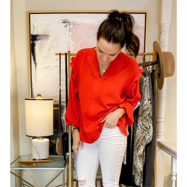 RED RUFFLE SLEEVE BLOUSE