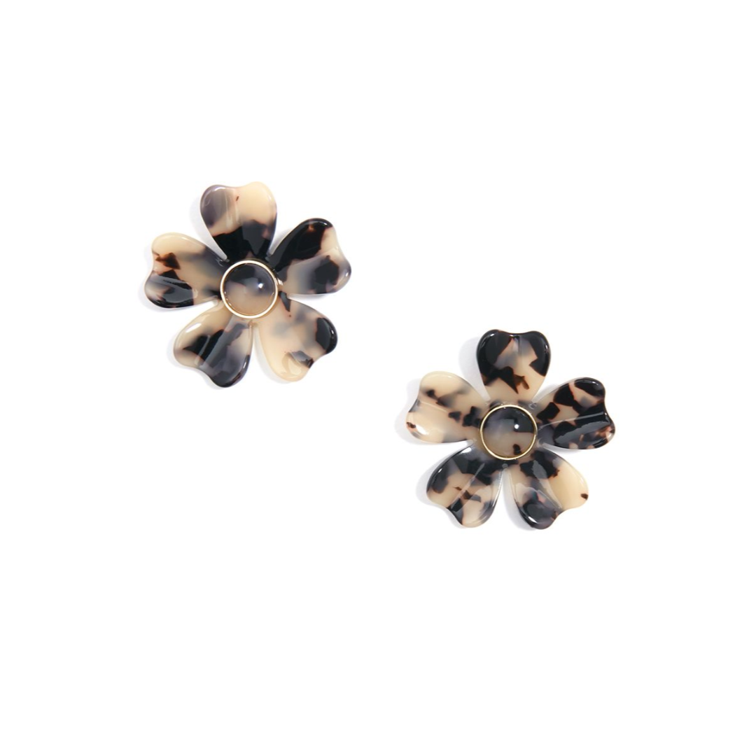 RESIN FLOWER STATEMENT EARRINGS