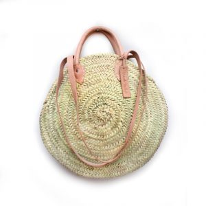 ROUND WICKER BASKET WITH DOUBLE HANDLE