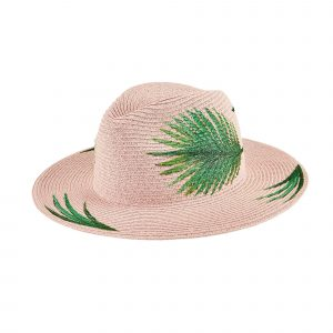 SAN DIEGO HAT COMPANY WOMEN'S FEDORA WITH HAND PAINTED PALM LEAVES