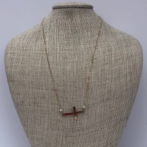 PATTY CLARKE DESIGNS GOLD SIDEWAYS CROSS ON CHAIN