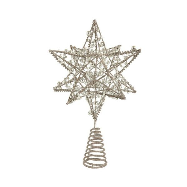 SILVER WIRE STAR TREE TOPPER