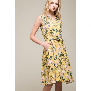 SLEEVELESS MARIGOLD FLORAL DRESS
