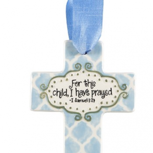 SMALL BLUE QUATREFOIL FOR THIS CHILD CROSS