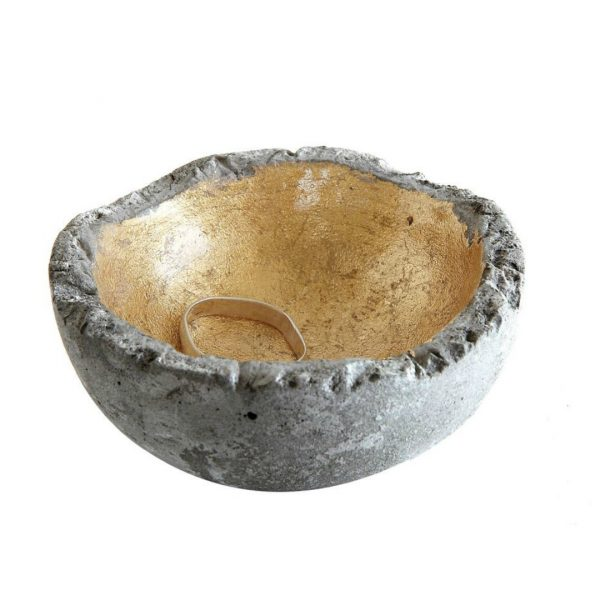 SMALL CEMENT BOWL WITH GOLD FOIL