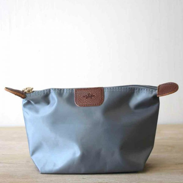 SMALL GRAY NYLON COSMETIC POUCH