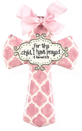 SMALL PINK QUATREFOIL FOR THIS CHILD CROSS