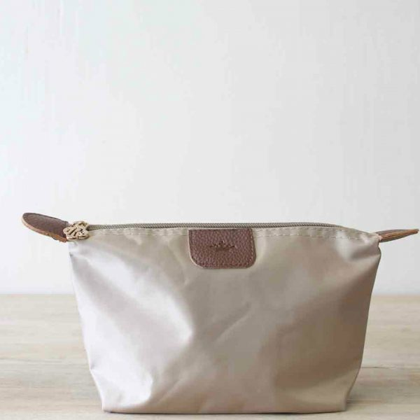 SMALL TAUPE NYLON COSMETIC POUCH