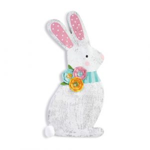SPRING BUNNY WITH FLOWERS DOOR HANGER