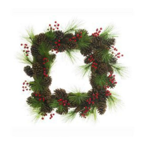SQUARE PINE BERRY WREATH