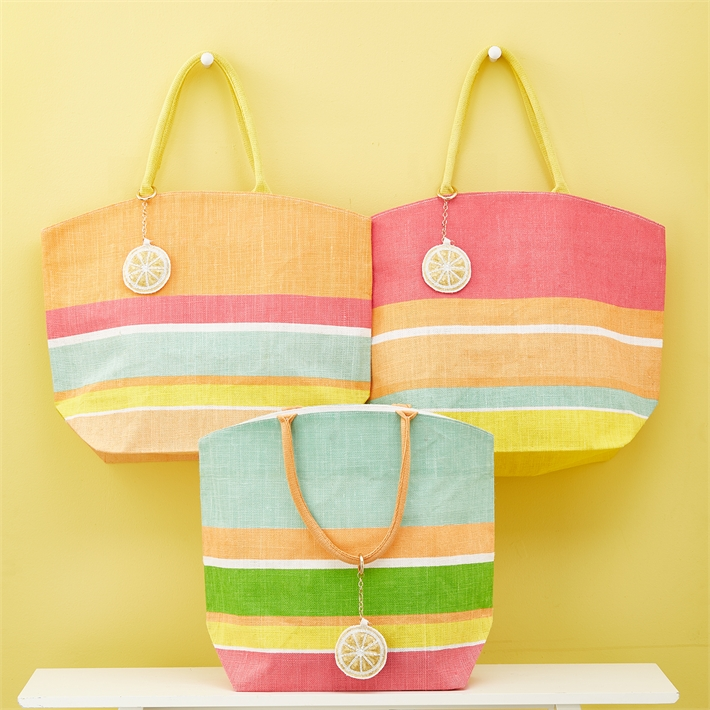 STRIPE TOTE WITH LEMON KEY RING