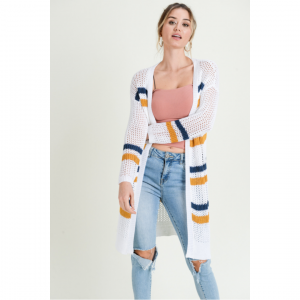 STRIPED SWEATER CARDI - NAVY AND WHITE