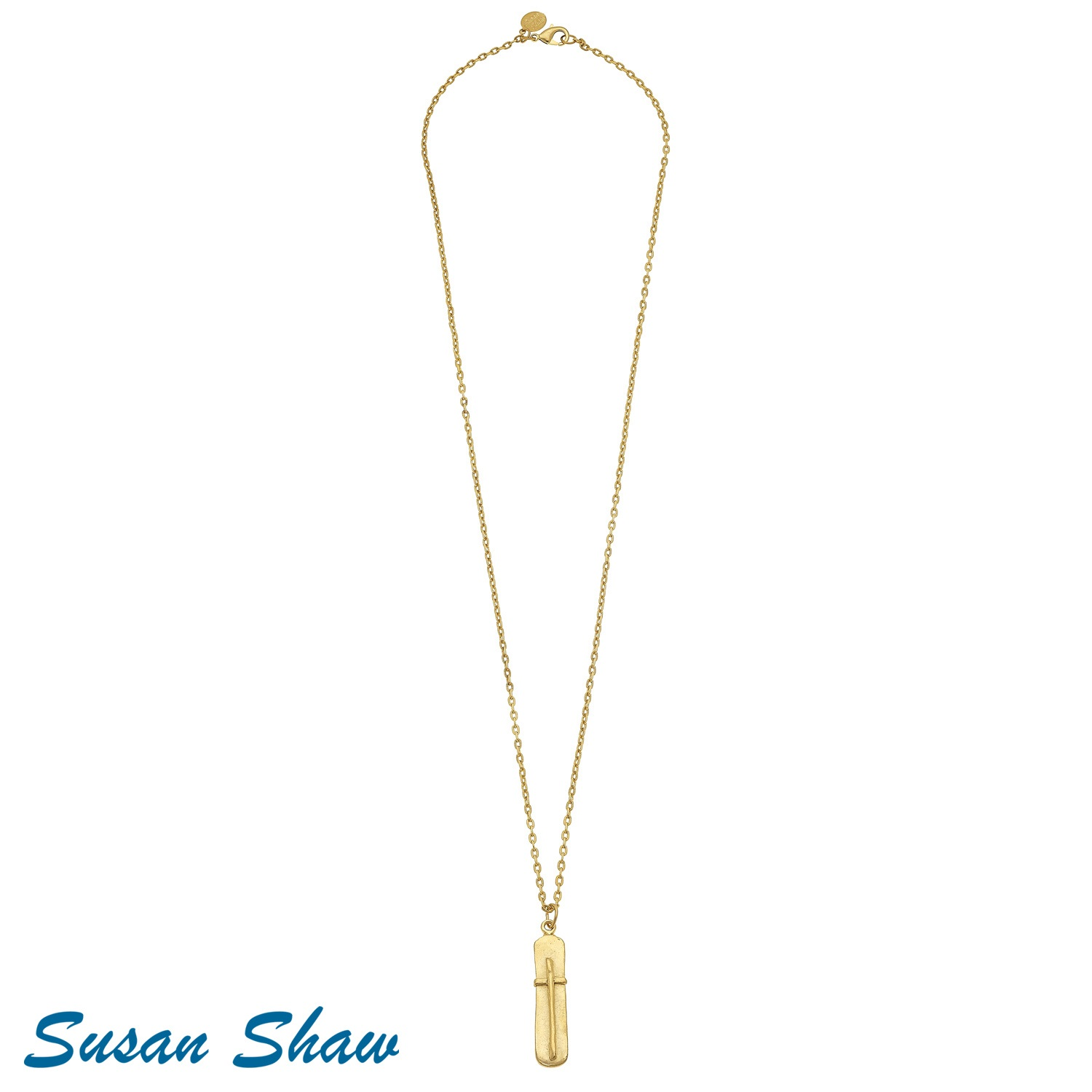 "SUSAN SHAW 30"" GOLD BAR WITH CROSS CHAIN NECKLACE"