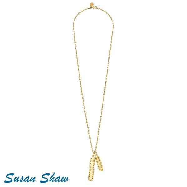 "SUSAN SHAW 30"" GOLD DOUBLE BAR WITH DOTS CHAIN NECKLACE"
