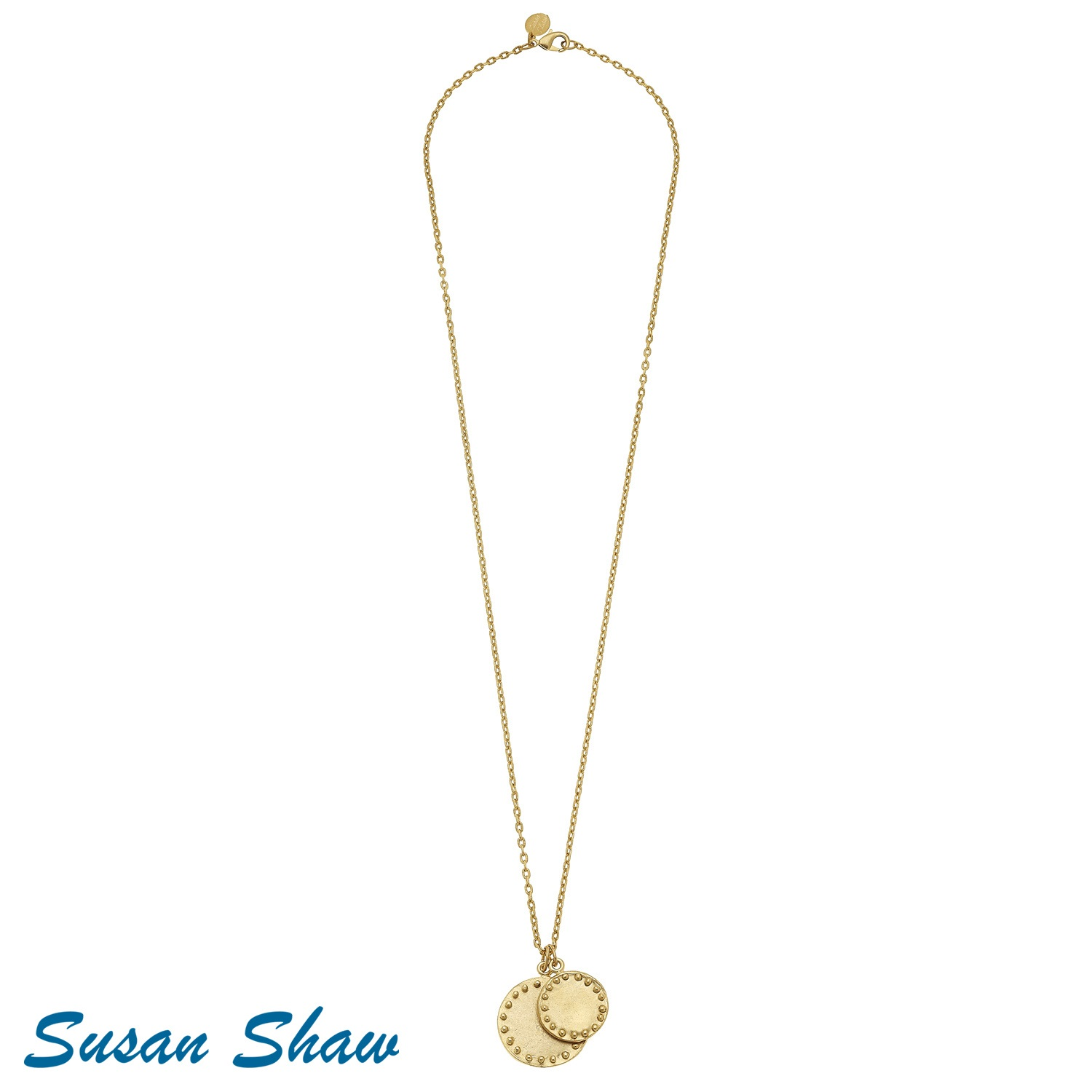 "SUSAN SHAW 30"" GOLD DOUBLE CIRCLE WITH DOTS CHAIN NECKLACE"