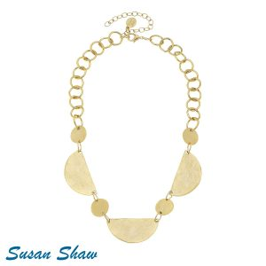 SUSAN SHAW GOLD 1/2 ROUND CIRCLE CHOKER NECKLACE