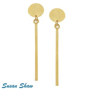"SUSAN SHAW GOLD 3"" ROUND AND THIN BAR EARRINGS"