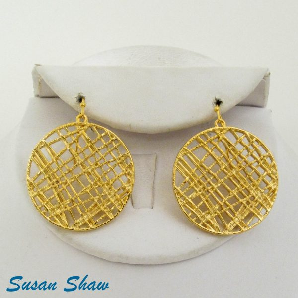 SUSAN SHAW GOLD CIRCLE LACE EARRINGS