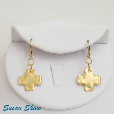 SUSAN SHAW GOLD CROSS EARRINGS
