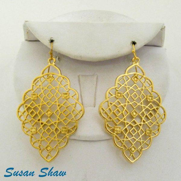 SUSAN SHAW GOLD DIAMOND FILIGREE EARRINGS