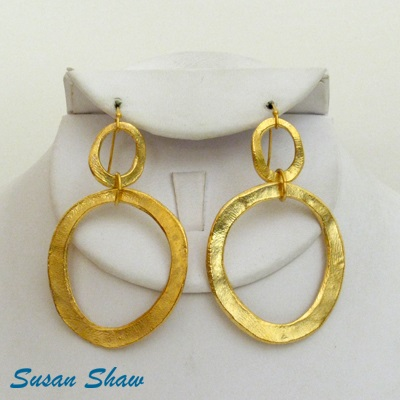 SUSAN SHAW GOLD DOUBLE CIRCLE EARRINGS