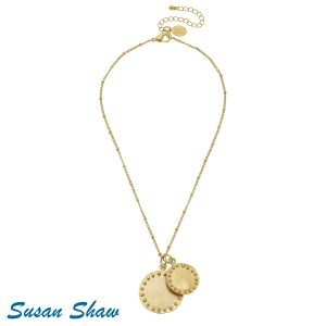 SUSAN SHAW GOLD DOUBLE CIRCLE WITH DOTS CHAIN NECKLACE