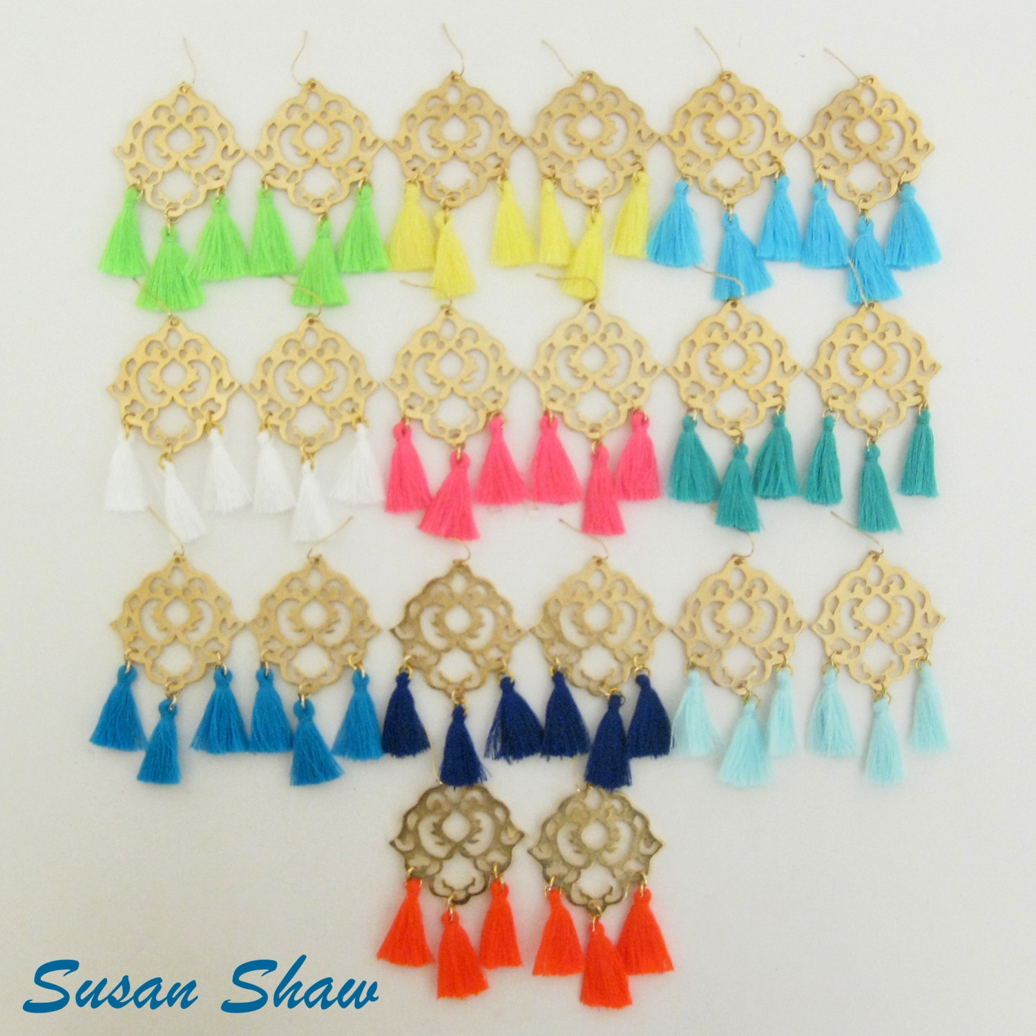 SUSAN SHAW GOLD FILIGREE TASSEL EARRINGS