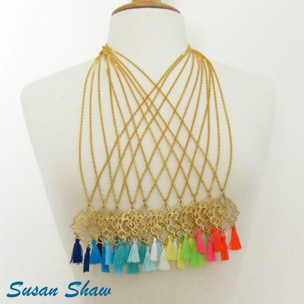 SUSAN SHAW GOLD FILIGREE TASSEL NECKLACE