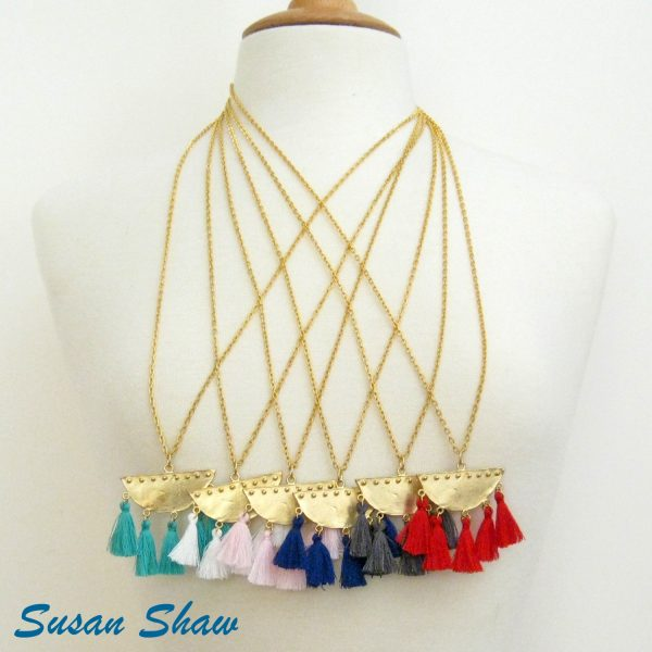 SUSAN SHAW GOLD HALF MOON TASSEL NECKLACE