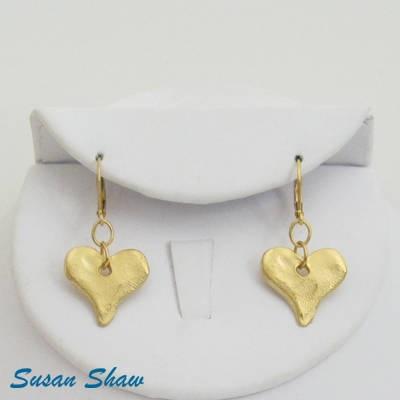 SUSAN SHAW GOLD HEART EARRINGS