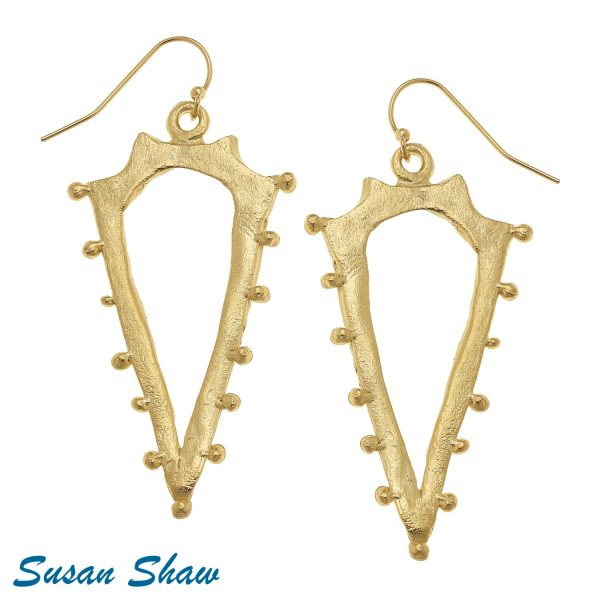 SUSAN SHAW GOLD POINT CUT OUT EARRINGS