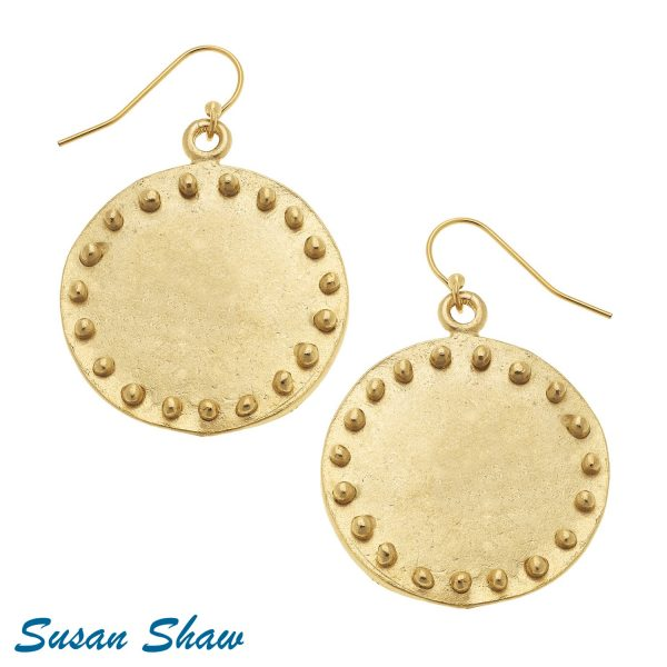 SUSAN SHAW LARGE GOLD CIRCLE WITH DOTS EARRINGS
