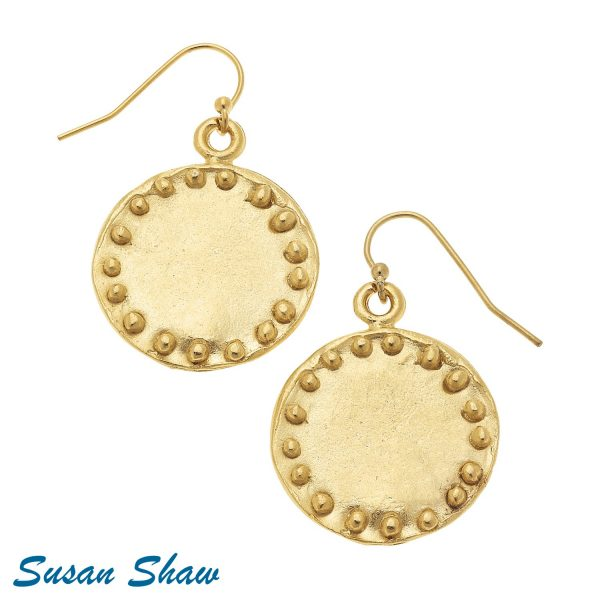 SUSAN SHAW SMALL GOLD CIRCLE WITH DOTS EARRINGS