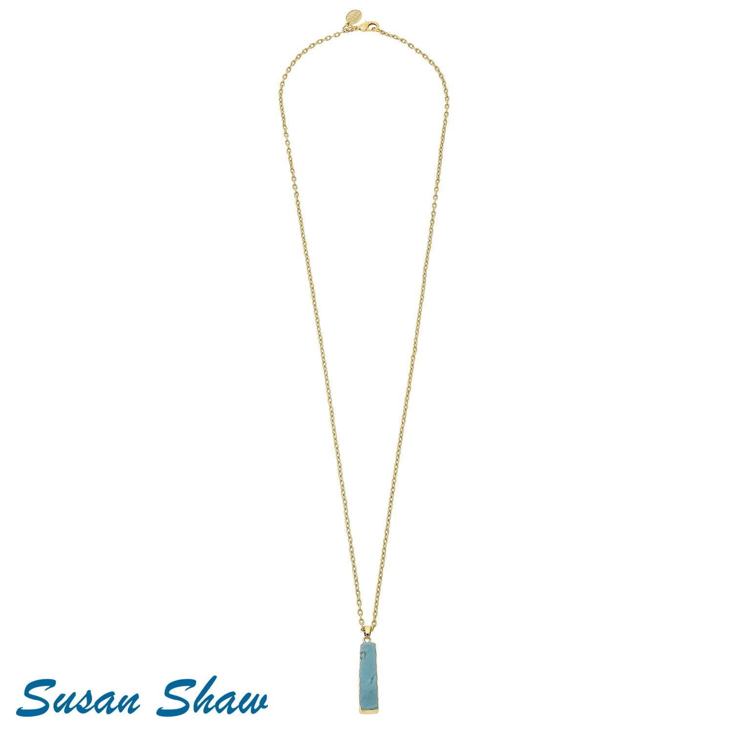 SUSAN SHAW TURQUOISE RECTANGLE LONG NECKLACE