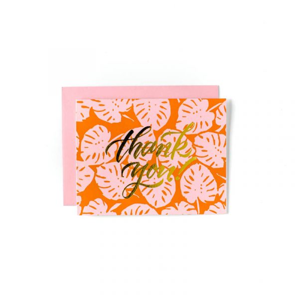 SWEET CAROLINE DESIGNS PINK ORANGE PALM THANK YOU CARDS