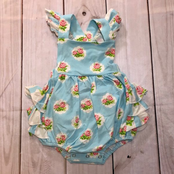SWOON BABY BLUE FLORAL BUBBLE ROMPER
