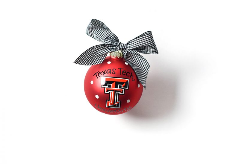 TEXAS TECH LOGO GLASS ORNAMENT