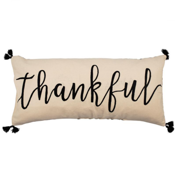 THANKFUL EMBROIDERED PILLOW
