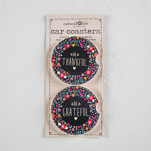 THANKFUL & GRATEFUL CAR COASTER SET