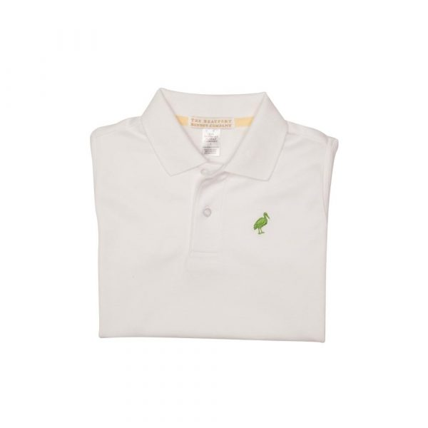 THE BEAUFORT BONNET COMPANY GREEN AND WHITE PRIM AND PROPER POLO