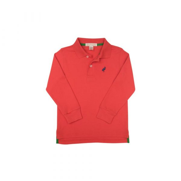 THE BEAUFORT BONNET COMPANY LONG SLEEVE PRIM AND PROPER POLO - RICHMOND RED AND NAVY