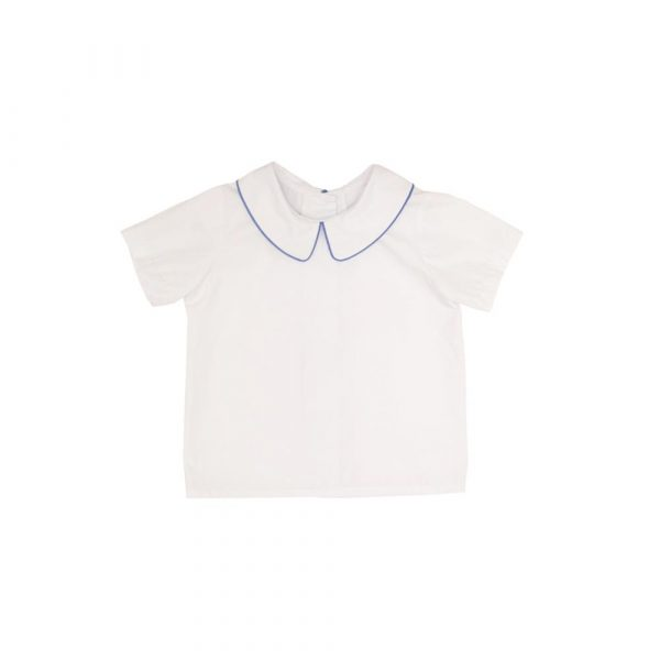 THE BEAUFORT BONNET COMPANY PETER PAN SHIRT - WORTH AVE WHITE WITH BLUE