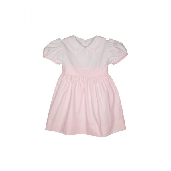 THE BEAUFORT BONNET COMPANY WORTH AVE WHITE AND PLANTATION PINK - CINDY LOU SASH DRESS